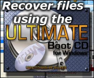 Using the Ultimate Boot CD to recover files from a damaged system.